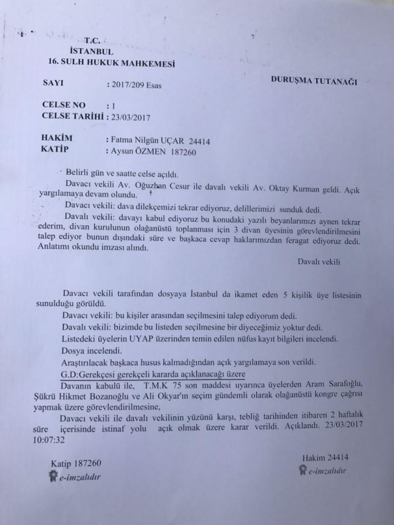 Beşiktaş Divan kurulu mahkeme kararı